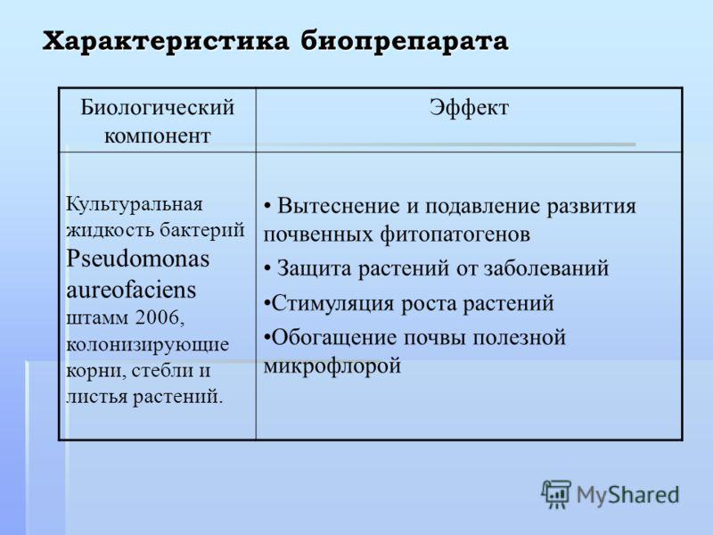 Характеристика биопрепарата Биологический компонент Эффект Культуральная жидкость бактерий Pseudomonas aureofaciens штамм 2006, колонизирующие корни, стебли и листья растений. Вытеснение и подавление развития почвенных фитопатогенов Защита растений о