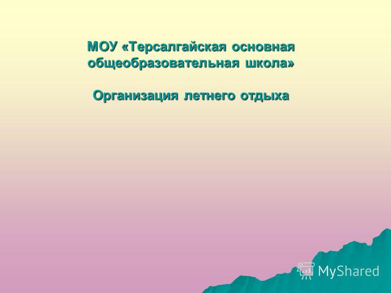 МОУ «Терсалгайская основная общеобразовательная школа» Организация летнего отдыха