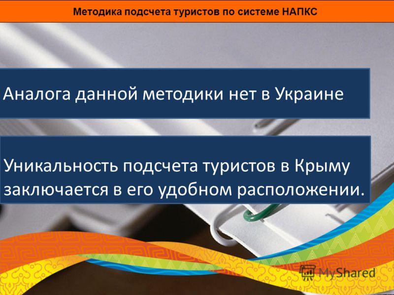Аналога данной методики нет в Украине Методика подсчета туристов по системе НАПКС Уникальность подсчета туристов в Крыму заключается в его удобном расположении.