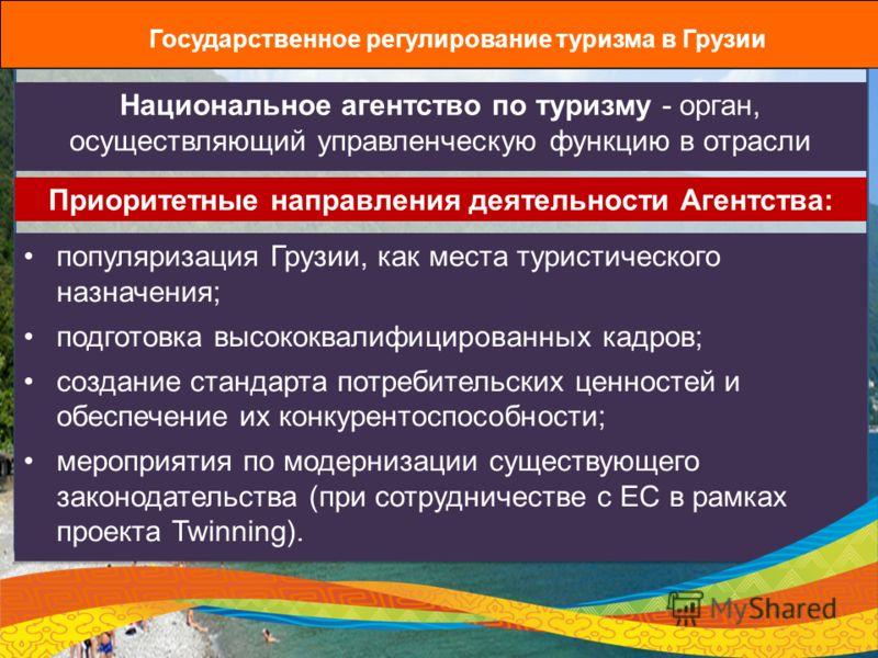 Государственное регулирование туризма в Грузии Национальное агентство по туризму - орган, осуществляющий управленческую функцию в отрасли популяризация Грузии, как места туристического назначения; подготовка высококвалифицированных кадров; создание с