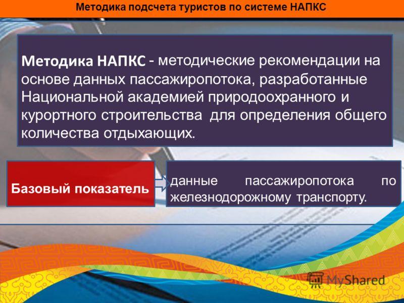 Методика НАПКС - методические рекомендации на основе данных пассажиропотока, разработанные Национальной академией природоохранного и курортного строительства для определения общего количества отдыхающих. данные пассажиропотока по железнодорожному тра