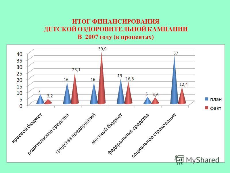 ИТОГ ФИНАНСИРОВАНИЯ ДЕТСКОЙ ОЗДОРОВИТЕЛЬНОЙ КАМПАНИИ В 2007 году (в процентах)