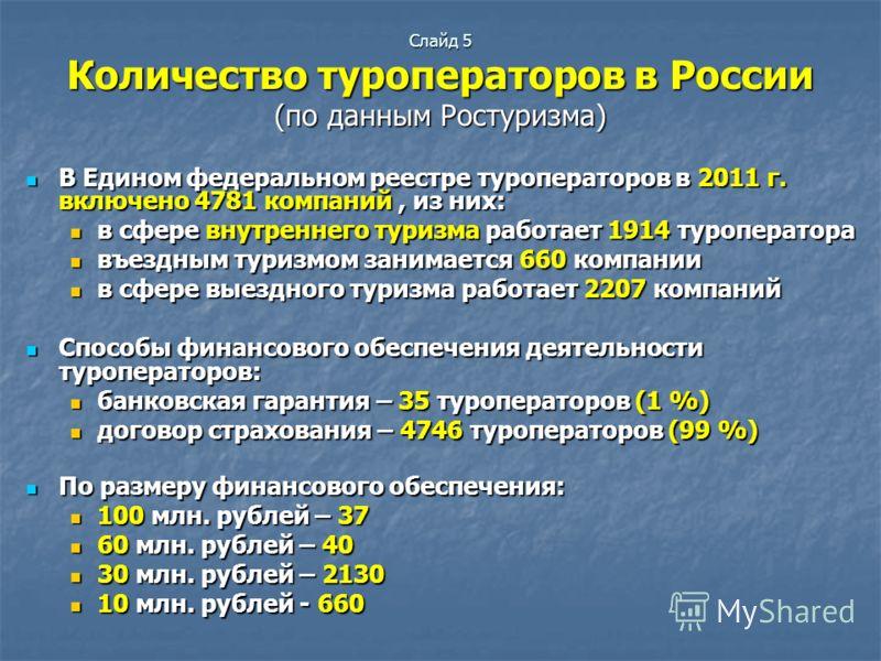 Слайд 5 Количество туроператоров в России (по данным Ростуризма) В Едином федеральном реестре туроператоров в 2011 г. включено 4781 компаний, из них: В Едином федеральном реестре туроператоров в 2011 г. включено 4781 компаний, из них: в сфере внутрен