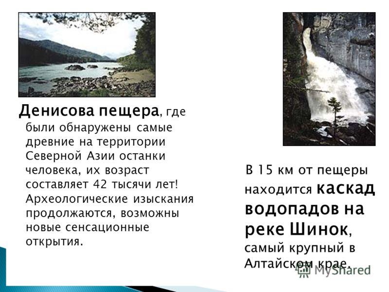 Денисова пещера, где были обнаружены самые древние на территории Северной Азии останки человека, их возраст составляет 42 тысячи лет! Археологические изыскания продолжаются, возможны новые сенсационные открытия. В 15 км от пещеры находится каскад вод