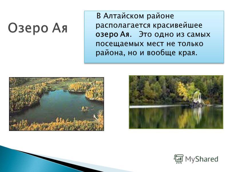 В Алтайском районе располагается красивейшее озеро Ая. Это одно из самых посещаемых мест не только района, но и вообще края.