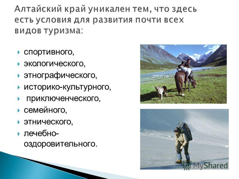спортивного, экологического, этнографического, историко-культурного, приключенческого, семейного, этнического, лечебно- оздоровительного.
