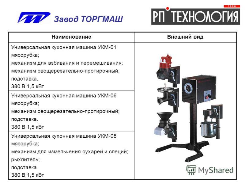 НаименованиеВнешний вид Универсальная кухонная машина УКМ-01 мясорубка; механизм для взбивания и перемешивания; механизм овощерезательно-протирочный; подставка. 380 В,1,5 кВт Универсальная кухонная машина УКМ-06 мясорубка; механизм овощерезательно-пр