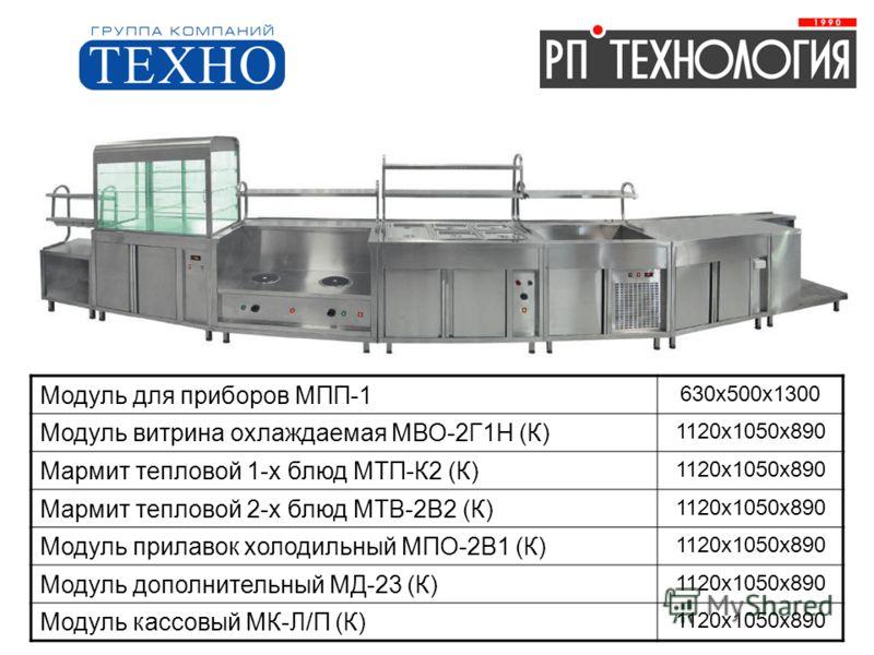 Модуль для приборов МПП-1 630х500х1300 Модуль витрина охлаждаемая МВО-2Г1Н (К) 1120х1050х890 Мармит тепловой 1-х блюд МТП-К2 (К) 1120х1050х890 Мармит тепловой 2-х блюд МТВ-2В2 (К) 1120х1050х890 Модуль прилавок холодильный МПО-2В1 (К) 1120х1050х890 Мо