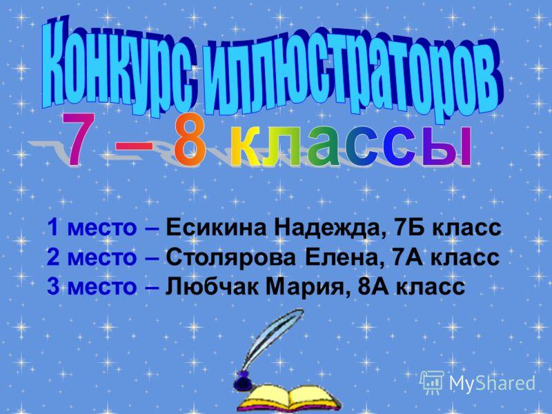1 место – Есикина Надежда, 7Б класс 2 место – Столярова Елена, 7А класс 3 место – Любчак Мария, 8А класс