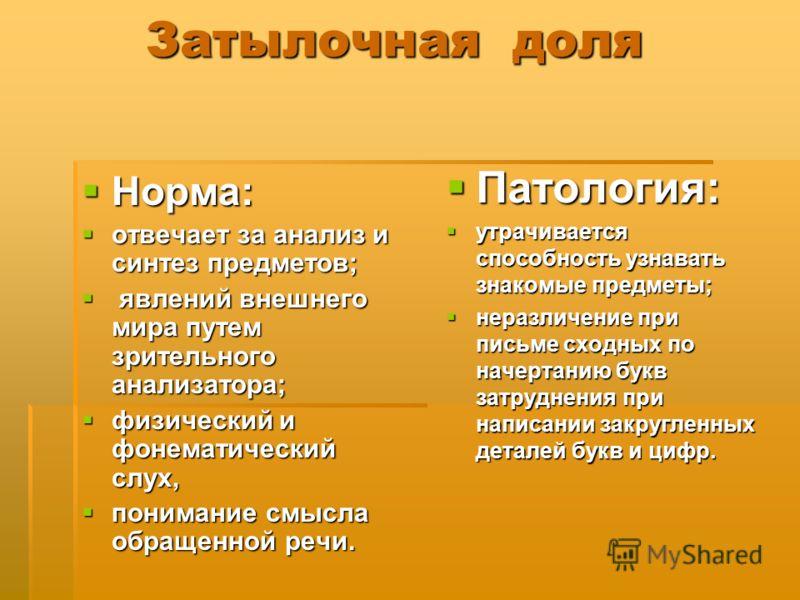 Затылочная доля Затылочная доля Норма: Норма: отвечает за анализ и синтез предметов; отвечает за анализ и синтез предметов; явлений внешнего мира путем зрительного анализатора; явлений внешнего мира путем зрительного анализатора; физический и фонемат