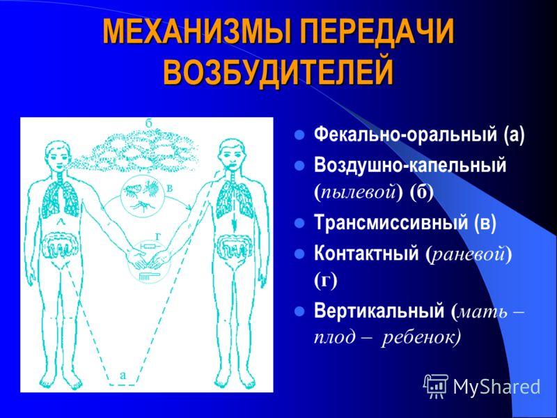МЕХАНИЗМЫ ПЕРЕДАЧИ ВОЗБУДИТЕЛЕЙ Фекально-оральный (а) Воздушно-капельный (пылевой) (б) Трансмиссивный (в) Контактный (раневой) (г) Вертикальный (мать – плод – ребенок)