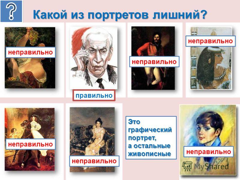 Какой из портретов лишний? неправильно правильно Это графический портрет, а остальные живописные