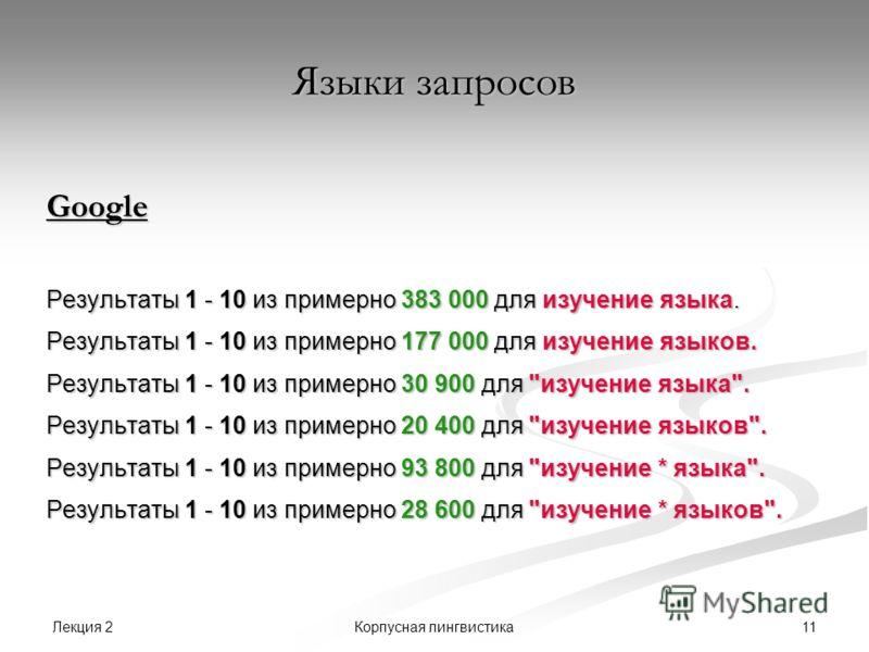 Лекция 2 11Корпусная лингвистика Языки запросов Google Результаты 1 - 10 из примерно 383 000 для изучение языка. Результаты 1 - 10 из примерно 177 000 для изучение языков. Результаты 1 - 10 из примерно 30 900 для
