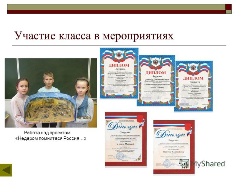 Участие класса в мероприятиях Работа над проектом «Недаром помнит вся Россия…»