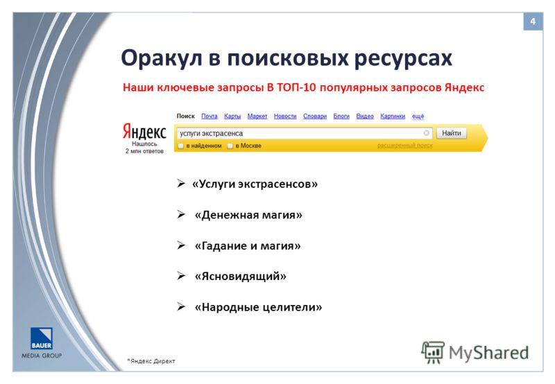 Оракул в поисковых ресурсах 4 *Яндекс Директ Наши ключевые запросы В ТОП-10 популярных запросов Яндекс «Услуги экстрасенсов» «Денежная магия» «Гадание и магия» «Ясновидящий» «Народные целители»