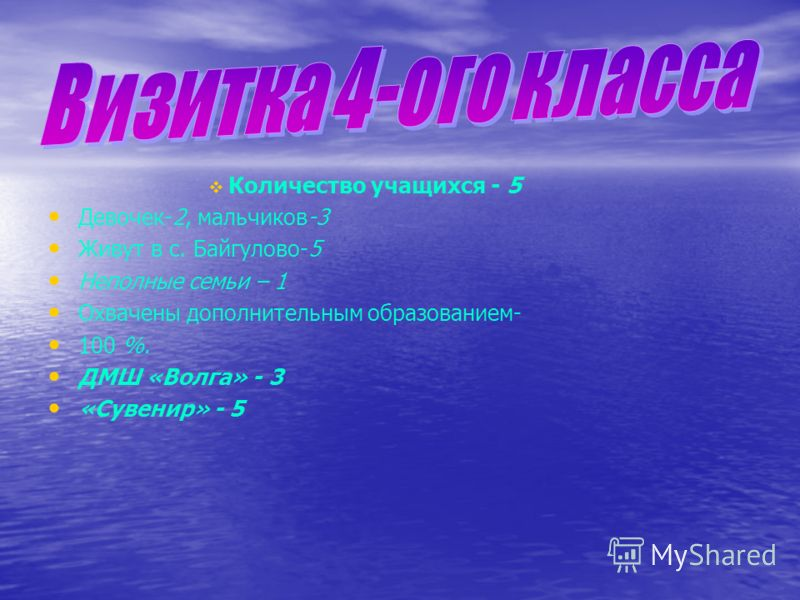 Количество учащихся - 5 Девочек-2, мальчиков-3 Живут в с. Байгулово-5 Неполные семьи – 1 Охвачены дополнительным образованием- 100 %. ДМШ «Волга» - 3 «Сувенир» - 5