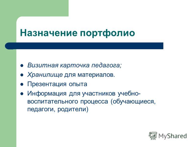 Назначение портфолио Визитная карточка педагога; Хранилище для материалов. Презентация опыта Информация для участников учебно- воспитательного процесса (обучающиеся, педагоги, родители)
