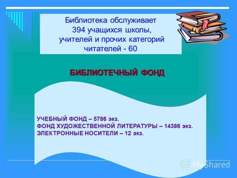 БИБЛИОТЕЧНЫЙ ФОНД БИБЛИОТЕЧНЫЙ ФОНД Библиотека обслуживает 394 учащихся школы, учителей и прочих категорий читателей - 60 УЧЕБНЫЙ ФОНД – 5786 экз. ФОНД ХУДОЖЕСТВЕННОЙ ЛИТЕРАТУРЫ – 14386 экз. ЭЛЕКТРОННЫЕ НОСИТЕЛИ – 12 экз.
