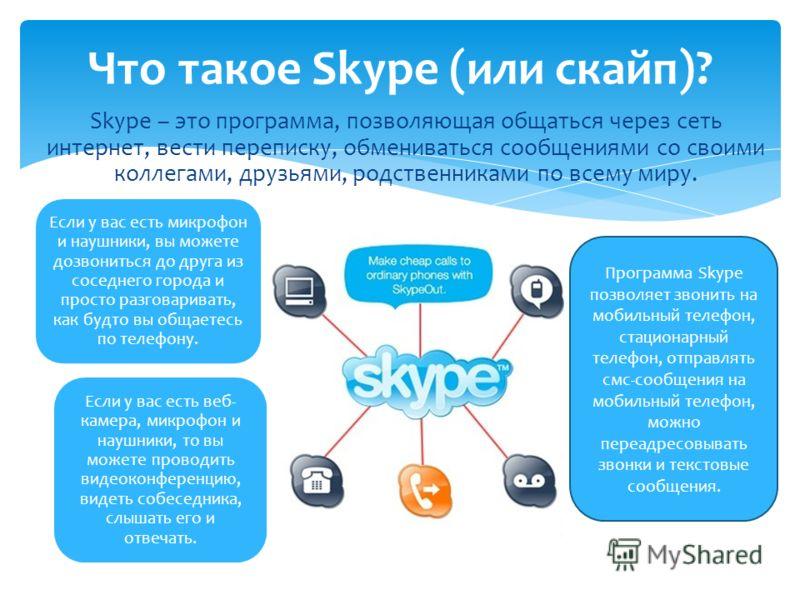 Skype – это программа, позволяющая общаться через сеть интернет, вести переписку, обмениваться сообщениями со своими коллегами, друзьями, родственниками по всему миру. Что такое Skype (или скайп)? Если у вас есть микрофон и наушники, вы можете дозвон