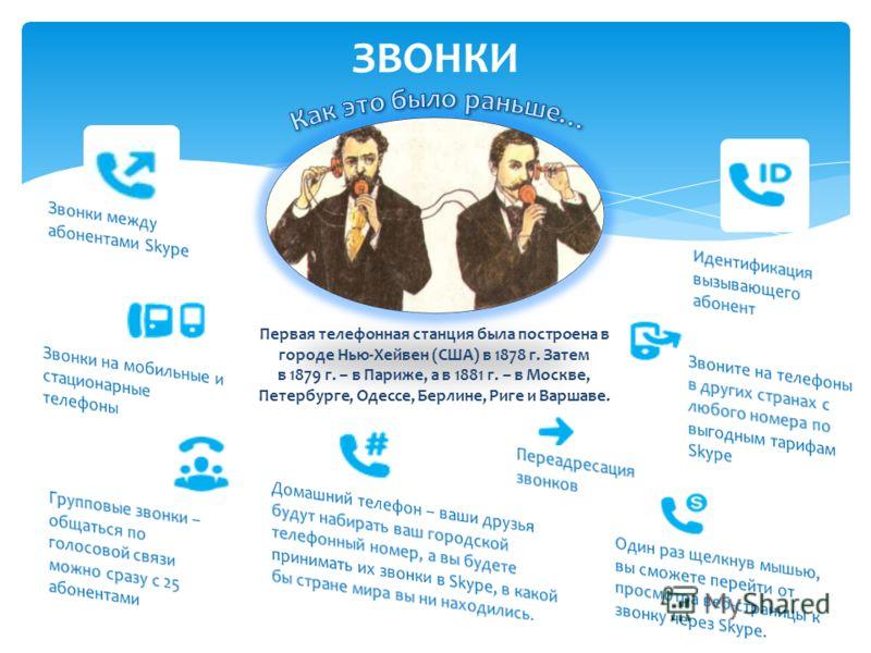ЗВОНКИ Первая телефонная станция была построена в городе Нью-Хейвен (США) в 1878 г. Затем в 1879 г. – в Париже, а в 1881 г. – в Москве, Петербурге, Одессе, Берлине, Риге и Варшаве.