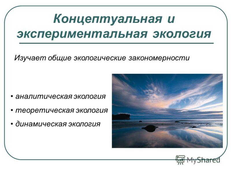 Концептуальная и экспериментальная экология Изучает общие экологические закономерности аналитическая экология теоретическая экология динамическая экология