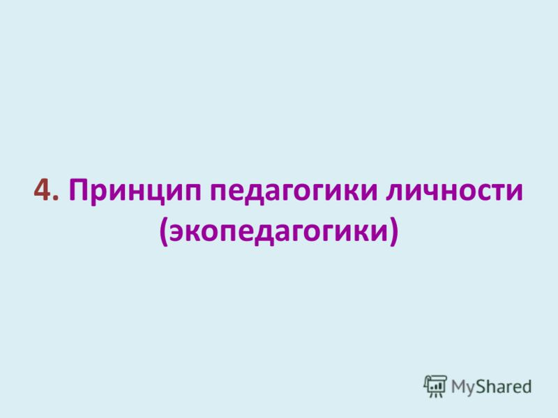 4. Принцип педагогики личности (экопедагогики)