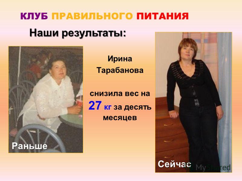 Ирина Тарабанова снизила вес на 27 кг за десять месяцев Наши результаты: Раньше Сейчас