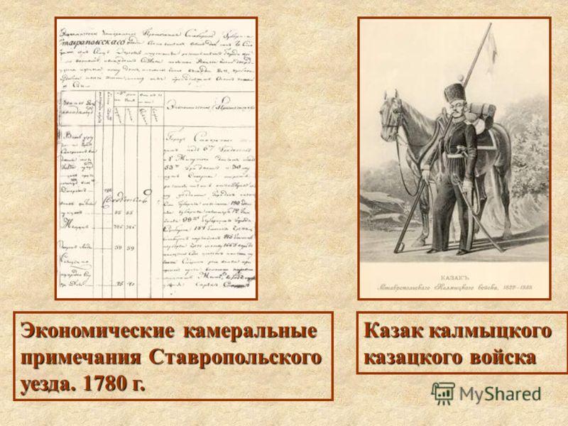 Экономические камеральные примечания Ставропольского уезда. 1780 г. Казак калмыцкого казацкого войска