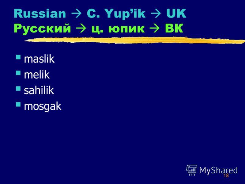 18 Russian C. Yupik UK Русский ц. юпик ВК maslik melik sahilik mosgak