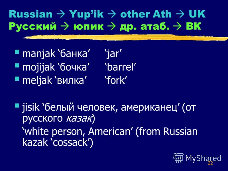 22 Russian Yupik other Ath UK Русский юпик др. атаб. ВК manjak банкаjar mojijak бочкаbarrel meljak вилкаfork jisik белый человек, американец (от русского казак) white person, American (from Russian kazak cossack)