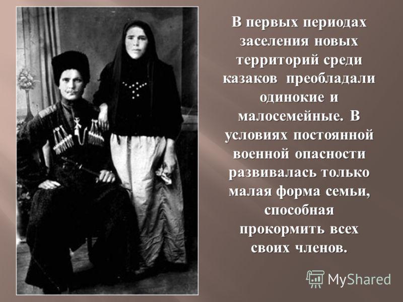 В первых периодах заселения новых территорий среди казаков преобладали одинокие и малосемейные. В условиях постоянной военной опасности развивалась только малая форма семьи, способная прокормить всех своих членов.