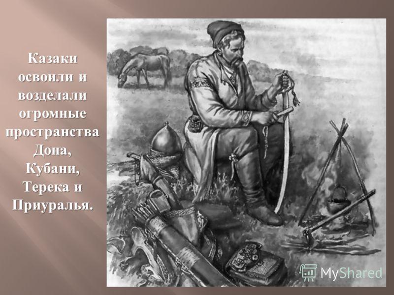 Казаки освоили и возделали огромные пространства Дона, Кубани, Терека и Приуралья.