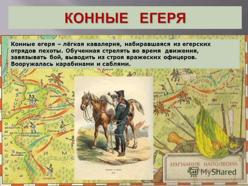Конные егеря – лёгкая кавалерия, набиравшаяся из егерских отрядов пехоты. Обученная стрелять во время движения, завязывать бой, выводить из строя вражеских офицеров. Вооружалась карабинами и саблями.