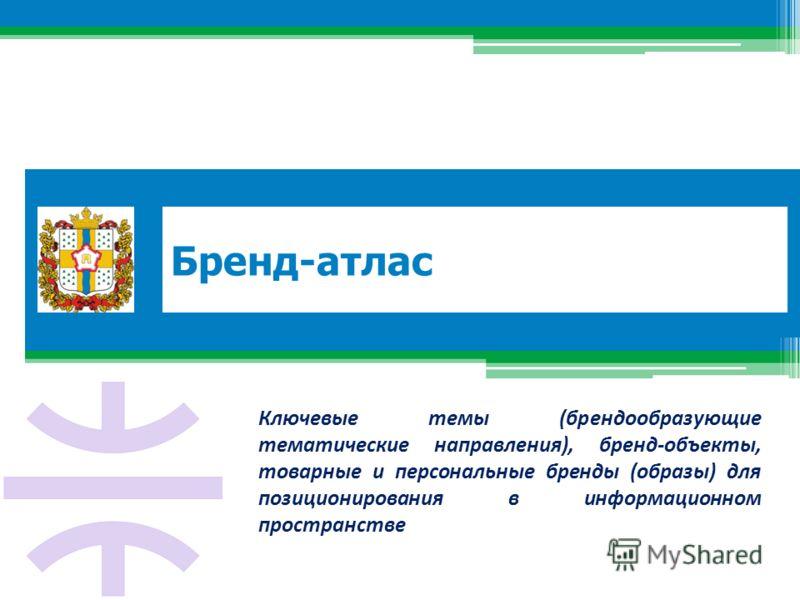 Бренд-атлас Ключевые темы (брендообразующие тематические направления), бренд-объекты, товарные и персональные бренды (образы) для позиционирования в информационном пространстве