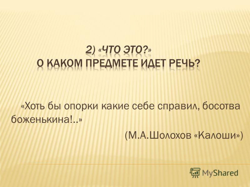 «Хоть бы опорки какие себе справил, босотва боженькина!..» (М.А.Шолохов «Калоши»)