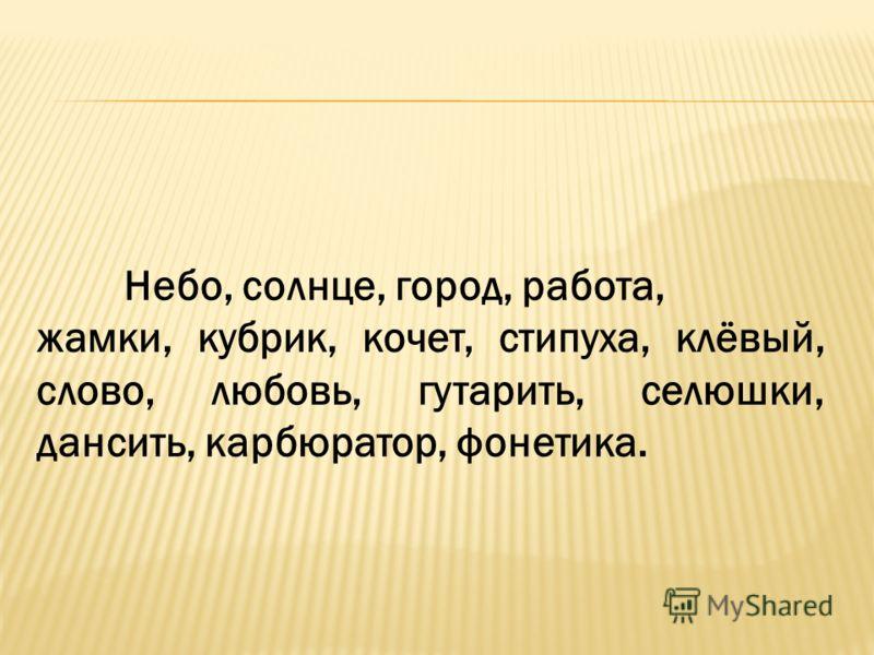 Небо, солнце, город, работа, жамки, кубрик, кочет, стипуха, клёвый, слово, любовь, гутарить, селюшки, дансить, карбюратор, фонетика.