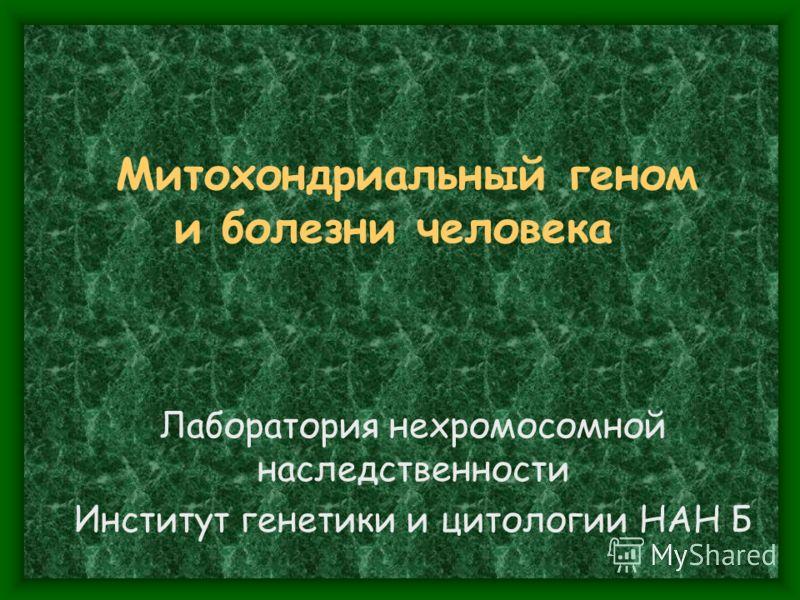 Митохондриальный геном и болезни человека Лаборатория нехромосомной наследственности Институт генетики и цитологии НАН Б