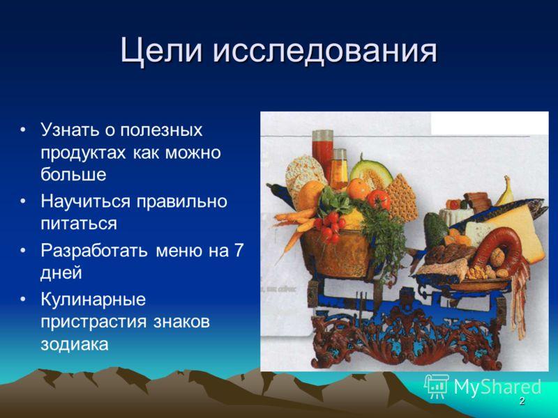 2 Цели исследования Узнать о полезных продуктах как можно больше Научиться правильно питаться Разработать меню на 7 дней Кулинарные пристрастия знаков зодиака