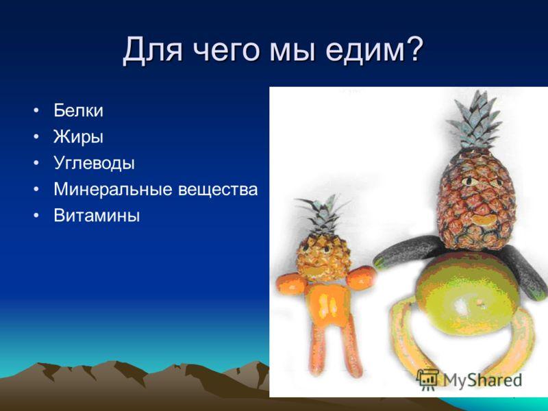 4 Для чего мы едим? Белки Жиры Углеводы Минеральные вещества Витамины