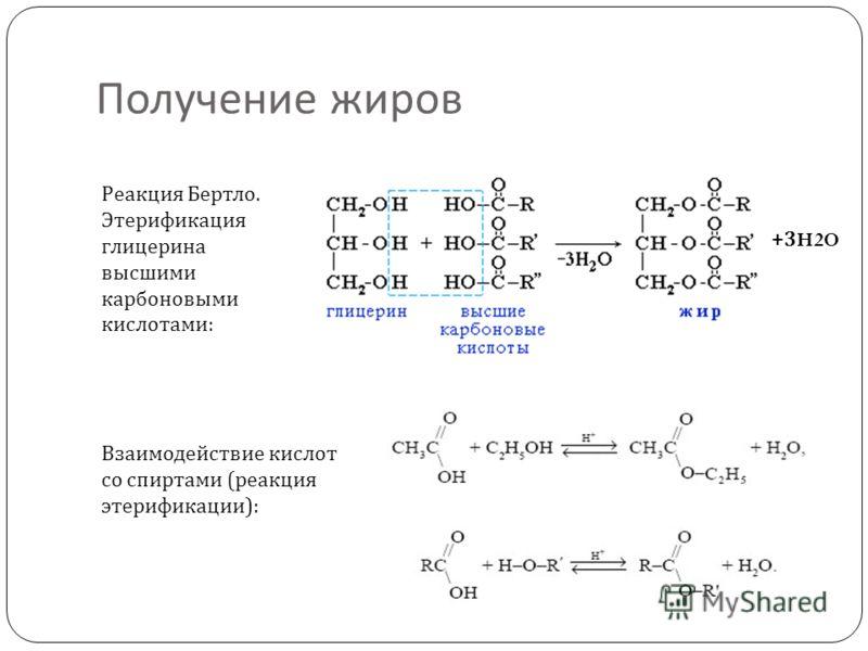 Получение жиров Взаимодействие кислот со спиртами ( реакция этерификации ): Реакция Бертло. Этерификация глицерина высшими карбоновыми кислотами : +3H2O