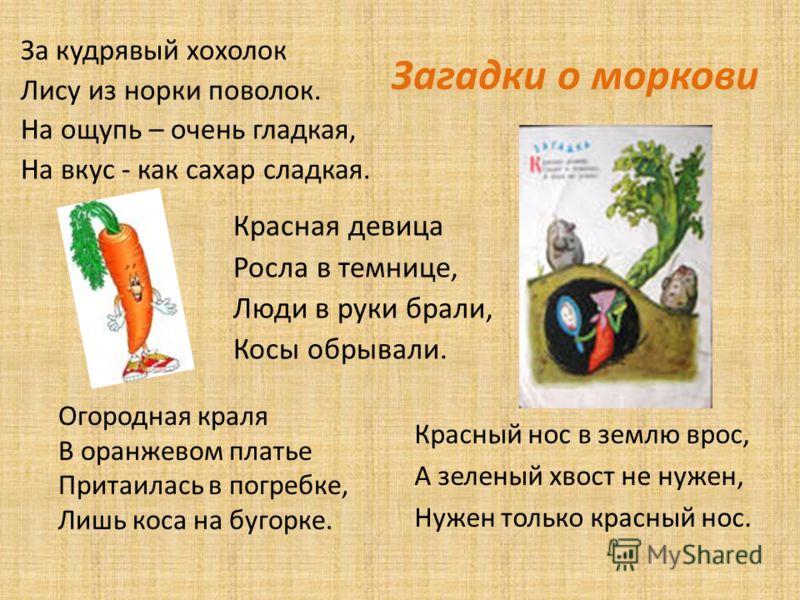 Загадки о моркови За кудрявый хохолок Лису из норки поволок. На ощупь – очень гладкая, На вкус - как сахар сладкая. Огородная краля В оранжевом платье Притаилась в погребке, Лишь коса на бугорке. Красный нос в землю врос, А зеленый хвост не нужен, Ну