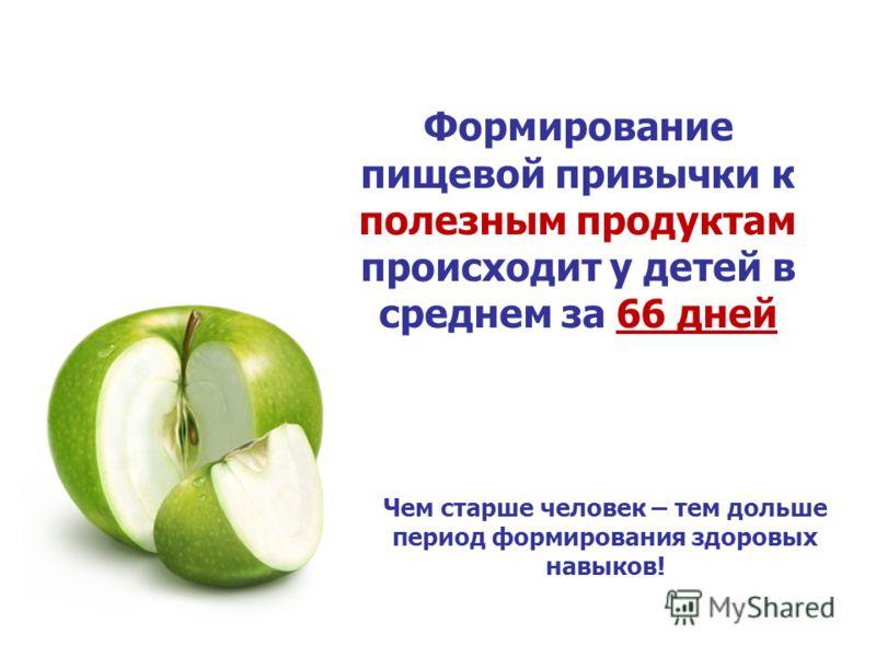 Формирование пищевой привычки к полезным продуктам происходит у детей в среднем за 66 дней Чем старше человек – тем дольше период формирования здоровых навыков!
