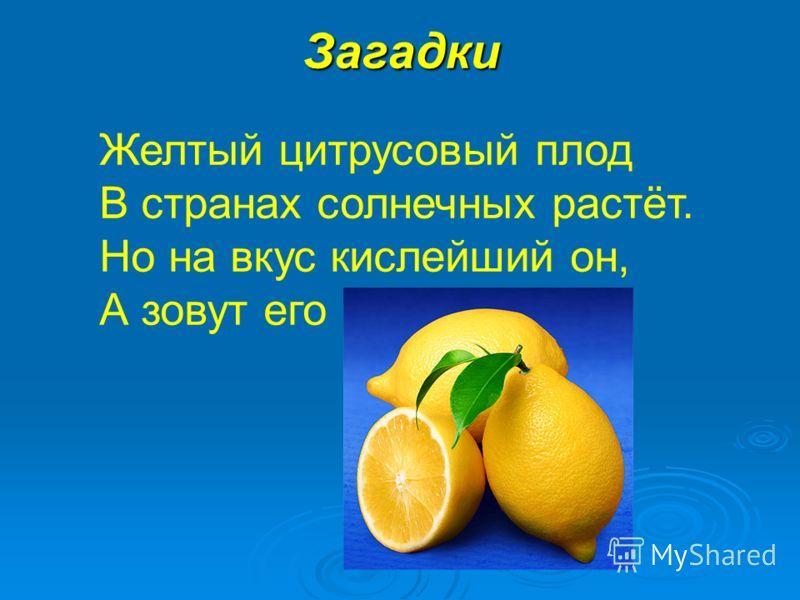 Загадки Желтый цитрусовый плод В странах солнечных растёт. Но на вкус кислейший он, А зовут его...