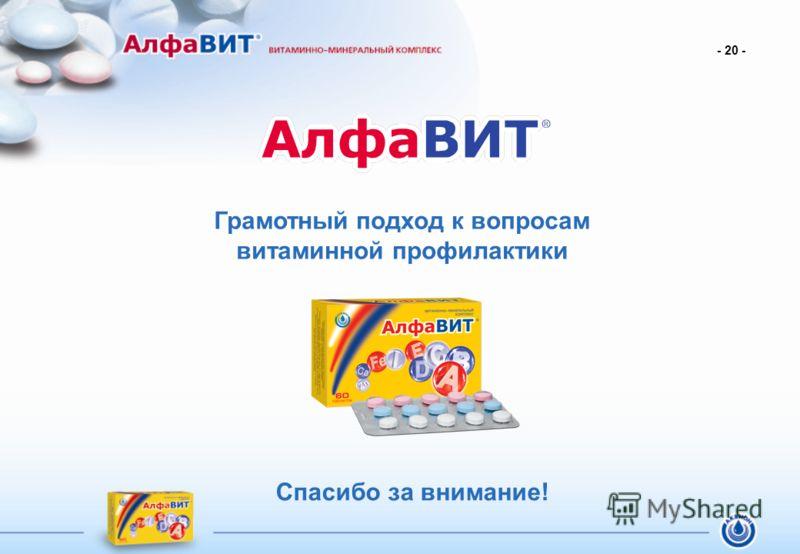 Грамотный подход к вопросам витаминной профилактики Спасибо за внимание! - 20 -