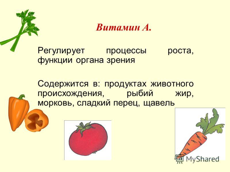 Витамин А. Регулирует процессы роста, функции органа зрения Содержится в: продуктах животного происхождения, рыбий жир, морковь, сладкий перец, щавель