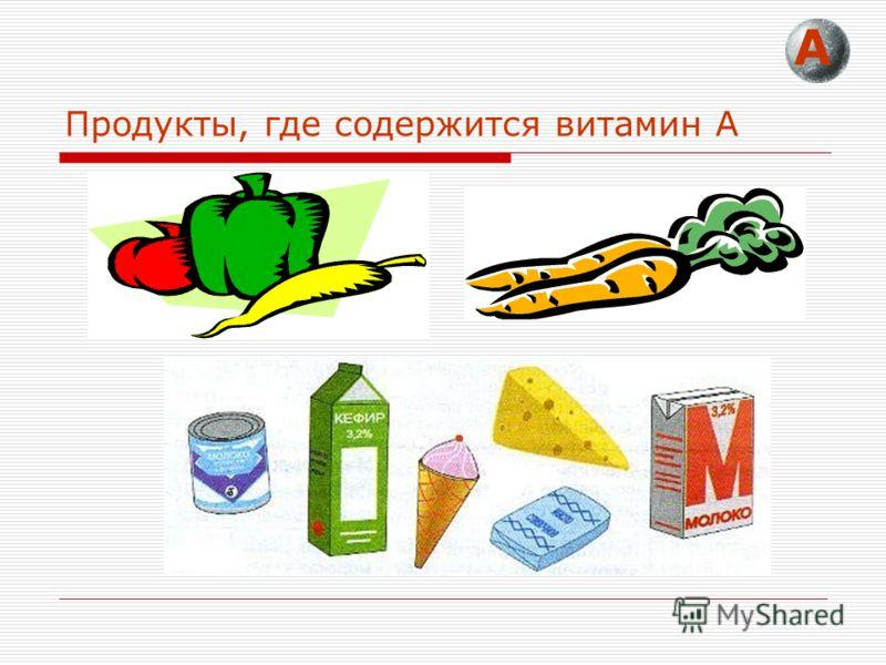 Продукты, где содержится витамин А А