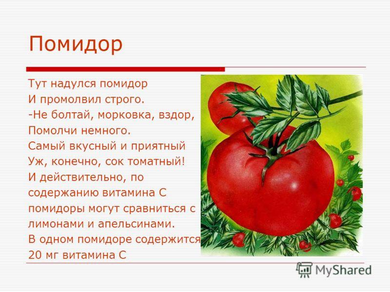 Помидор Тут надулся помидор И промолвил строго. -Не болтай, морковка, вздор, Помолчи немного. Самый вкусный и приятный Уж, конечно, сок томатный! И действительно, по содержанию витамина С помидоры могут сравниться с лимонами и апельсинами. В одном по