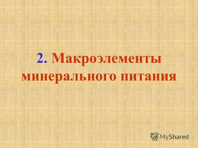 2. Макроэлементы минерального питания
