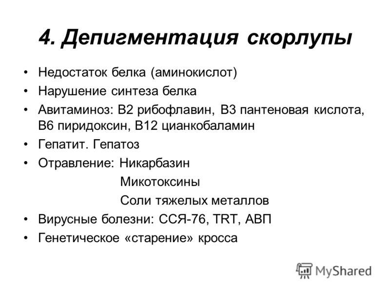 4. Депигментация скорлупы Недостаток белка (аминокислот) Нарушение синтеза белка Авитаминоз: В2 рибофлавин, В3 пантеновая кислота, В6 пиридоксин, В12 цианкобаламин Гепатит. Гепатоз Отравление: Никарбазин Микотоксины Соли тяжелых металлов Вирусные бол