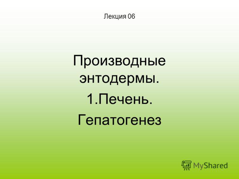 Лекция 06 Производные энтодермы. 1.Печень. Гепатогенез